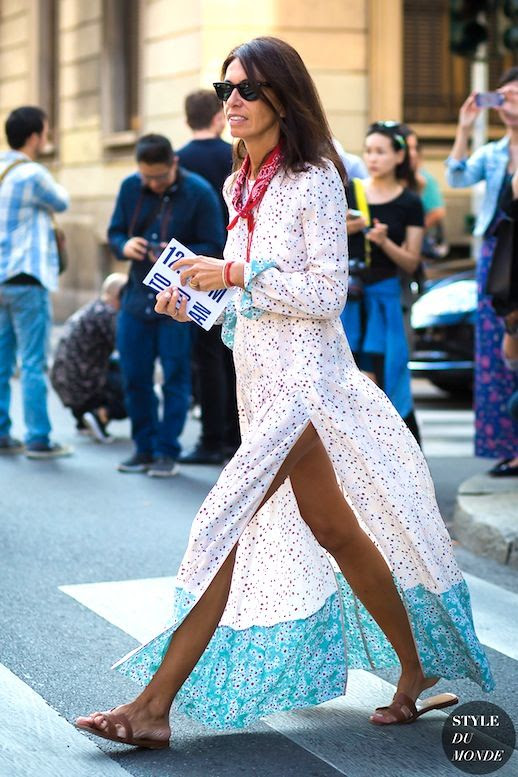 Le Fashion Blog Fashion Editor Street Style Viviana Volpicella Bandana Neck Scarf Printed Maxi Dress Hermes Flat Sandals Via Style Du Monde