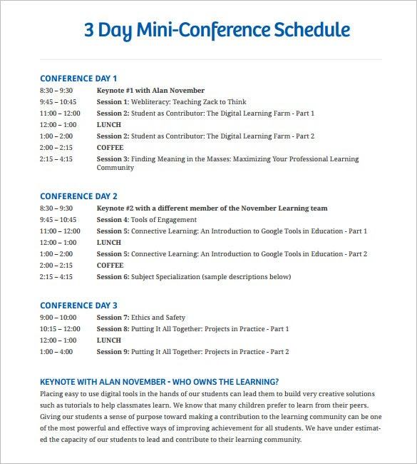 Conference Schedule Template – 7+ Free Word, Excel, PDF Format ...