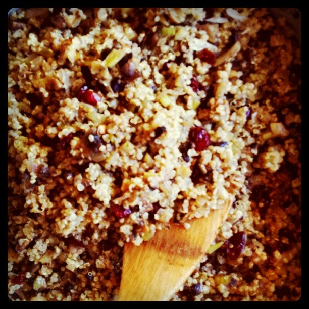 quinoa, cranberry, mushroom dressing