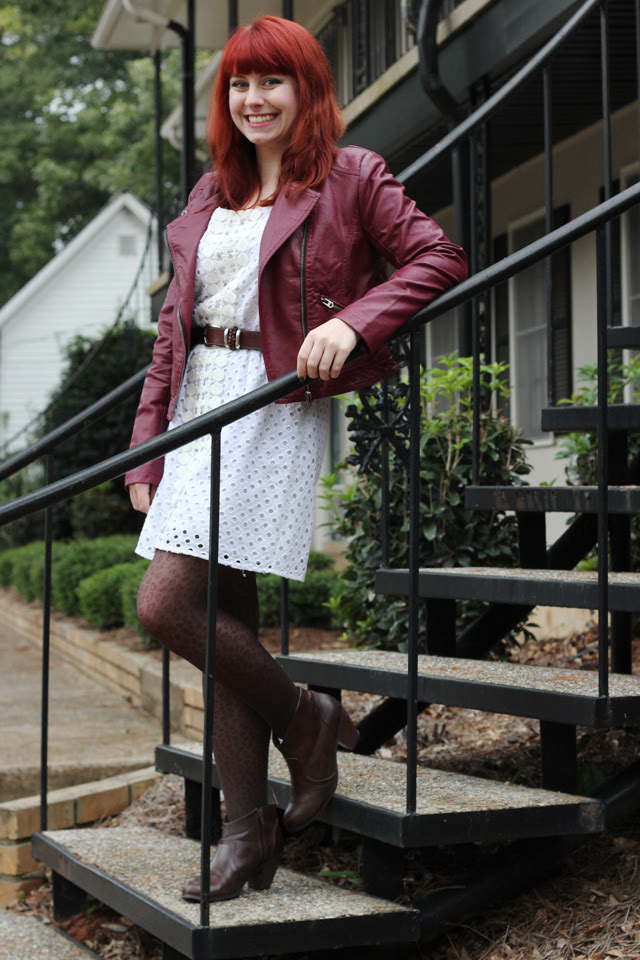 Oxblood Jacket, White Eyelet Dress, Leopard Print Tights, Brown Boots