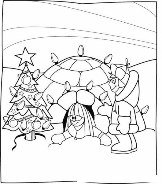 Dibujo De Esquimales En Navidad Para Colorear Y Pintar Online