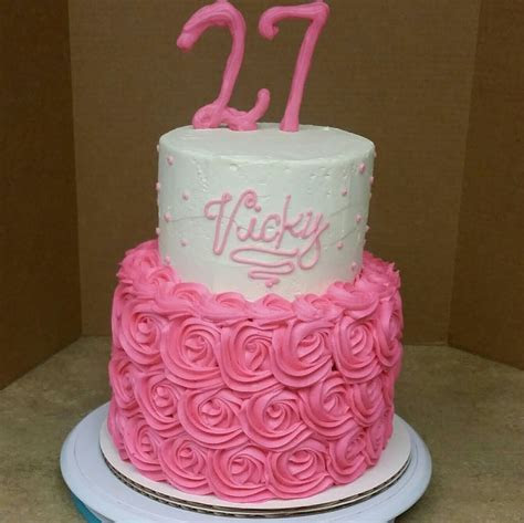 2 Tier Rosette Birthday Cake. Cake Decorating.   YouTube
