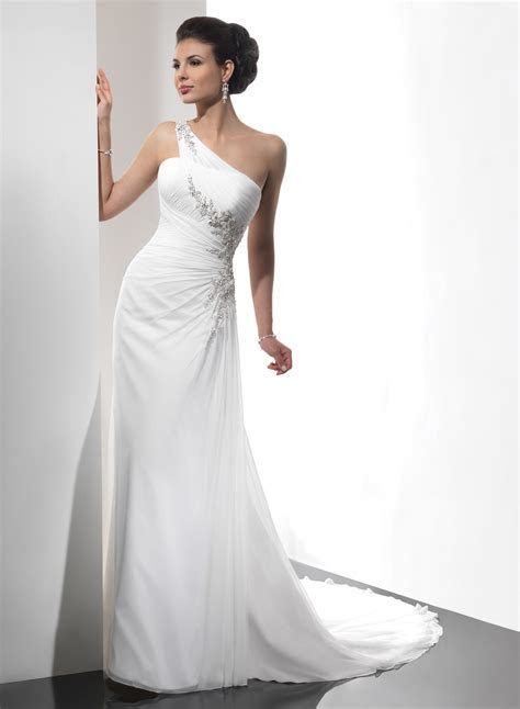 one shoulder bridal gowns sequence     Wedding Dress