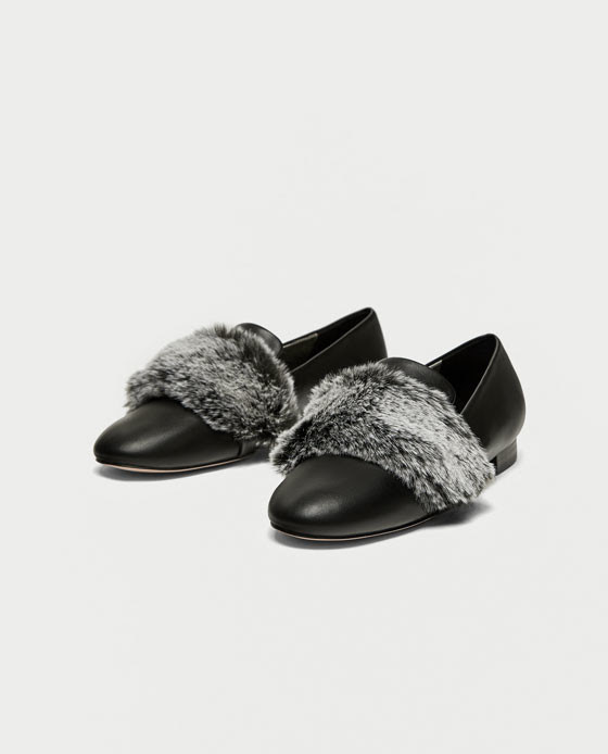zapatos zara negros total black slippers