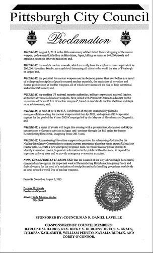 Pittsburgh Remembering Hiroshima Proclamation 2013