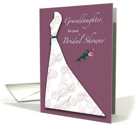 Granddaughter Bridal Shower, Wedding Dress & Roses card