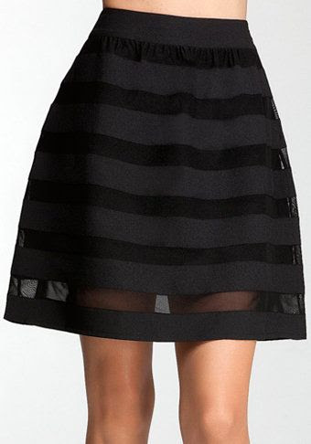 Bebe Shadow Stripe Circle Skirt