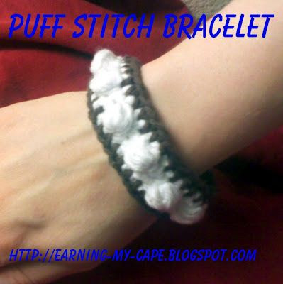 Earning-My-Cape: Puff Stitch Bracelet (free crochet pattern)