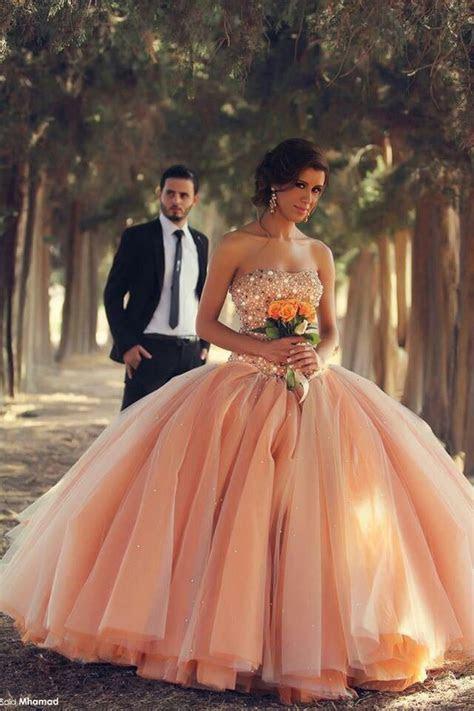 Peach Wedding Dress   a big, bright, fluffy ball gown with