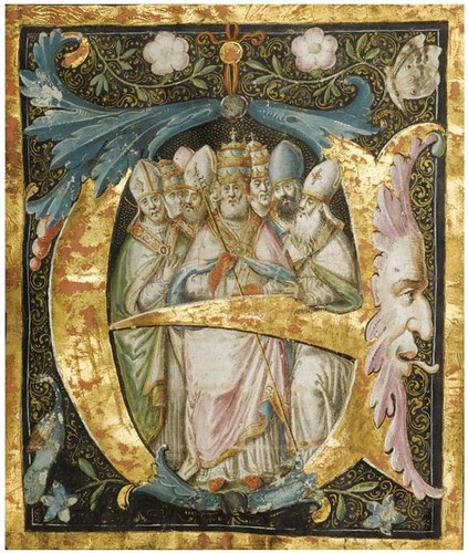 Historiated and illuminated initial 'E' (c. 1500)