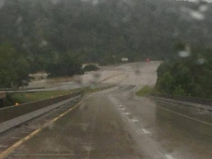 The City of Rolla's Fire and Rescue posted this photo on its Facebook page of flooding over East- and Westbound I-44 at Jerome, MO.