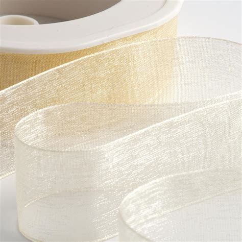 Cream Organza Ribbon with Woven Edge at Favour This