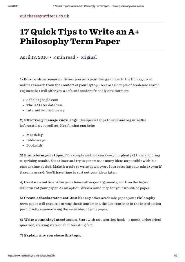 how to write an essay in philosophy