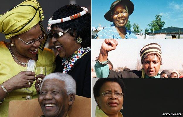 Left: Graca Machel and Winnie Madikizela-Mandela talking behind Nelson Mandela in 2008; Top right: Evelyn Mandela in 1994; Middle right: Winnie Mandela in 1987; Bottom right: Graca Machel in 2007
