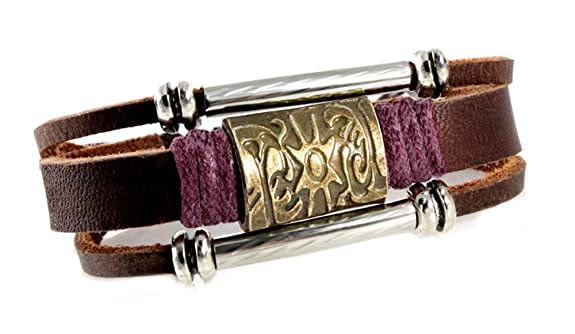 Brass Sun Medallion Leather Zen Bracelet, Adjustable 5.5 Inches and Up, with Wine Color Accent, for Men, Women, Teen, Boys and Girls in Gift Box