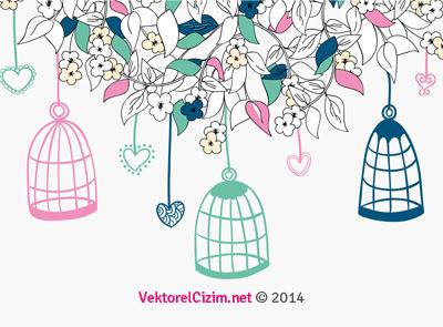 Vektörel çizim Kuş Kafesi çiçekler