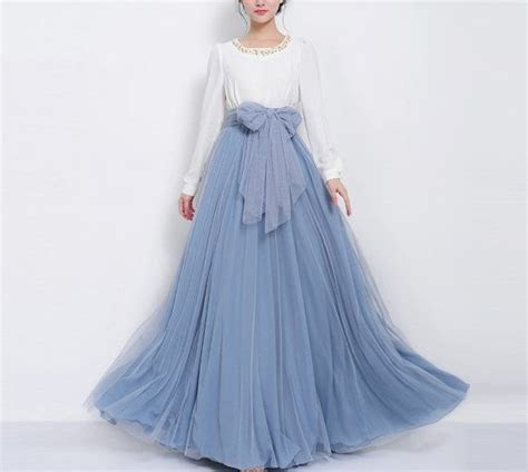 SALE Long Grey Blue Floor Length Tulle Full Pleated Skirt