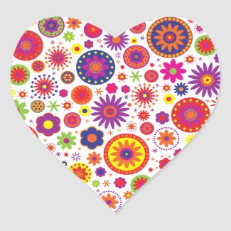 Hippy Rainbow Flowers Sticker