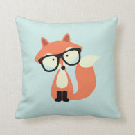 Cute Hipster Red Fox Throw Pillow