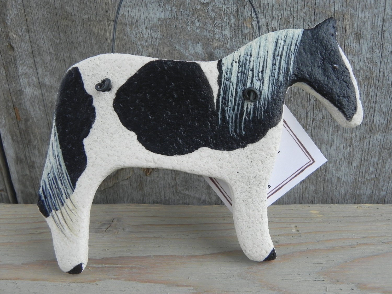 Black Paint with White Mane and Tail Horse Art Salt Dough Ornament - cookiedoughcreations