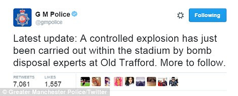 Greater Manchester Police confirmed that a controlled explosion by bomb disposal experts was carried out within the stadium