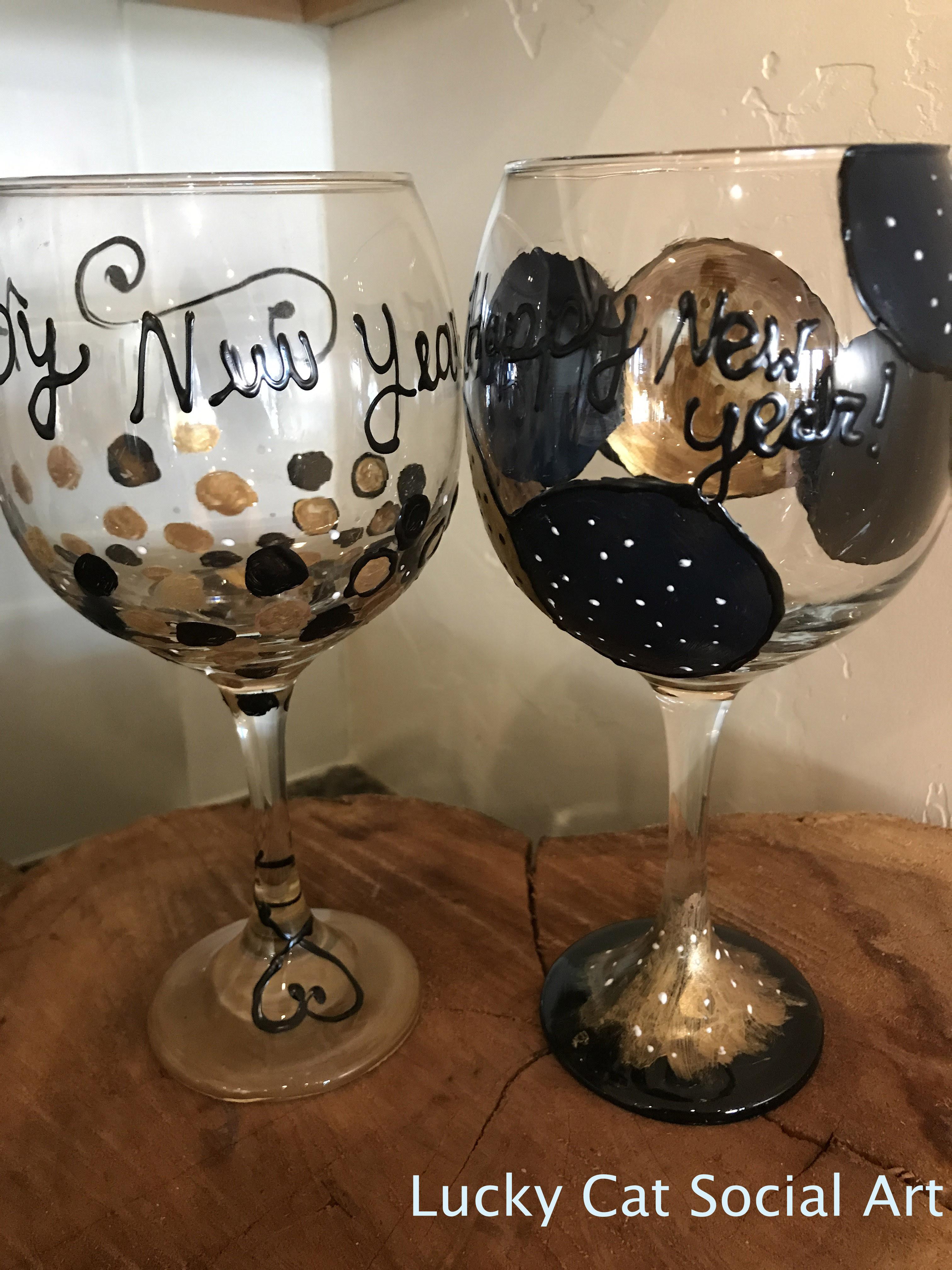 Public Paint Class Butterfly Wine Glass Lucky Cat Social Art