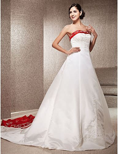 A Line Princess Strapless Cathedral Train Satin Wedding