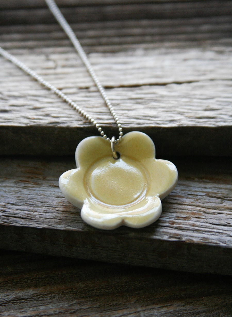 Necklace with Yellow Porcelain Flower - ON SALE