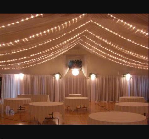 Wedding Reception Low Ceiling Drape String Lights   Good