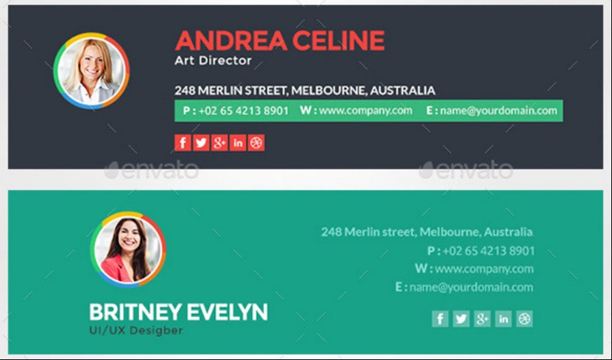 Email Signature Template for Unique Identity HTML and PSD Format ...