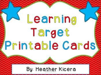 Learning Target Printable Cards | The o