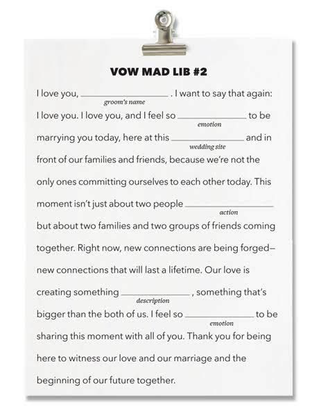Fill in the Blank Wedding Vows   Write Your Own Wedding
