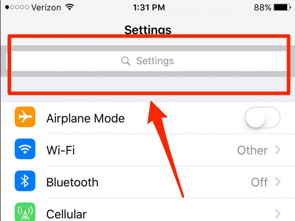 Search for anything in the Settings menu.