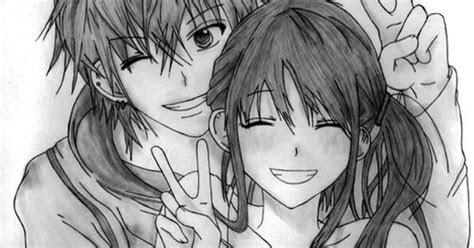 anime art anime couple love peace signs smile