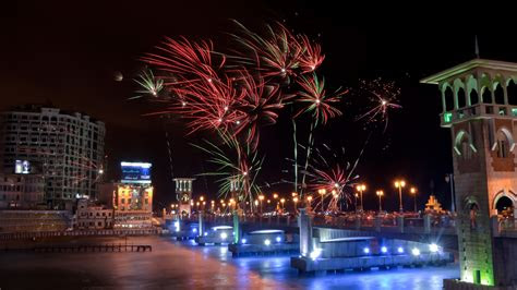 full hd wallpaper alexandria fireworks  year egypt
