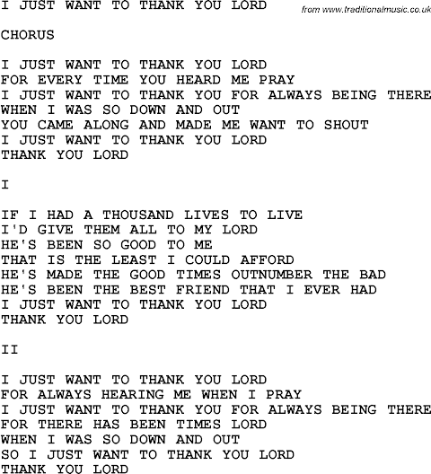 I Just Want To Thank You Lord Lyrics