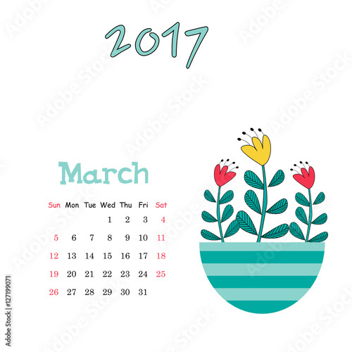 Vector calendar template for March 2017 with cute vase of flowers ...
