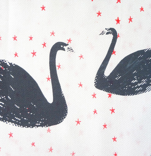Swan Scarf - Cream. Detail