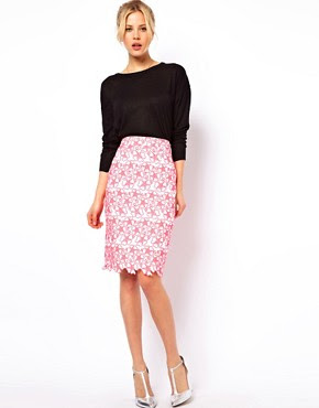 Image 1 of ASOS Pencil Skirt with Neon Embroidery