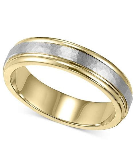 Macy's Men's 14k Gold and 14k White Gold Ring, Two Tone