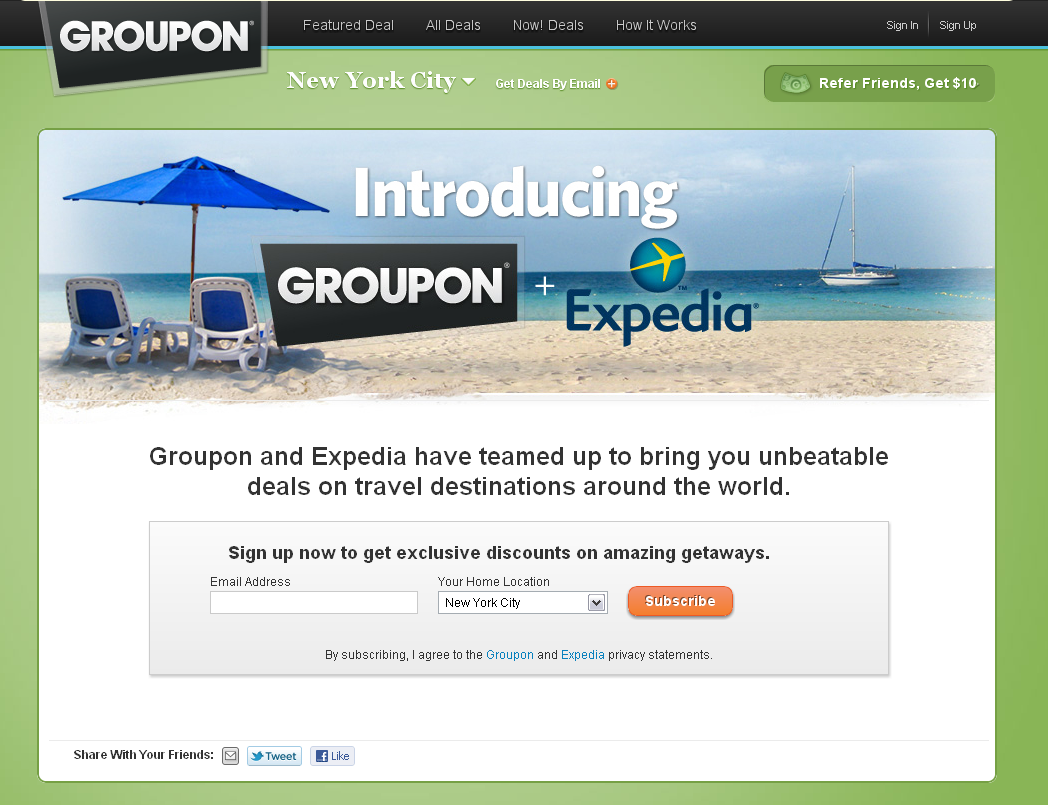 Exclusive Groupon Partners With Expedia for Discount