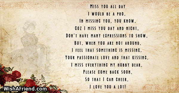 Miss You All Day Missing You Poem For Husband