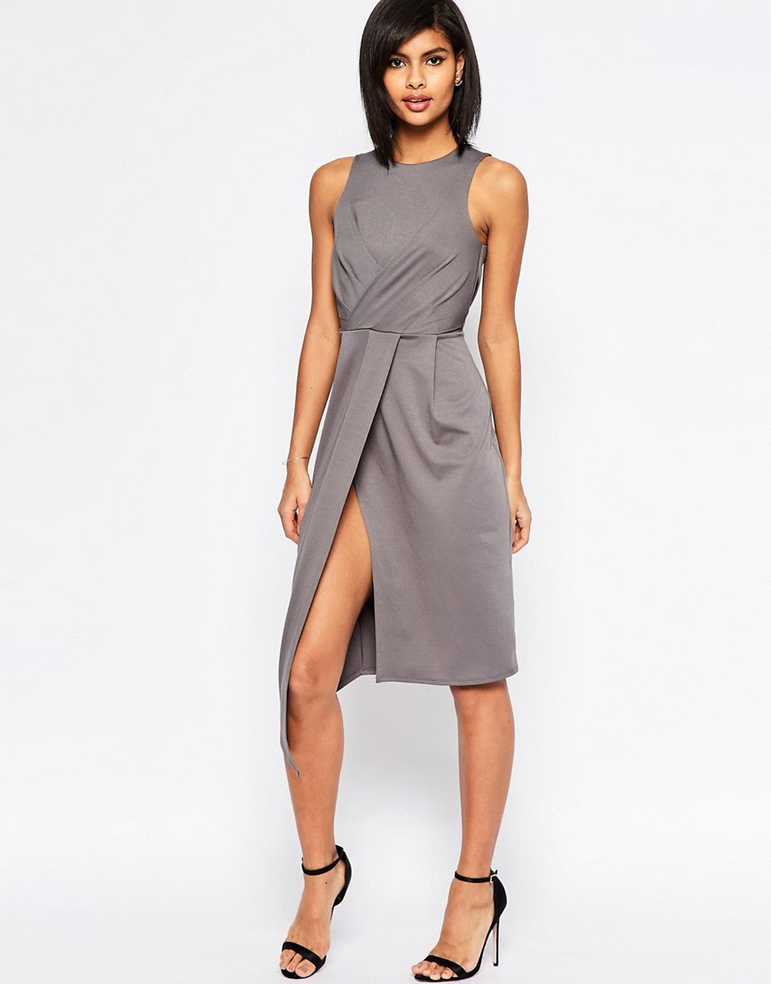 Image 1 ofASOS Sleeveless Wrap Drape Midi Pencil Dress