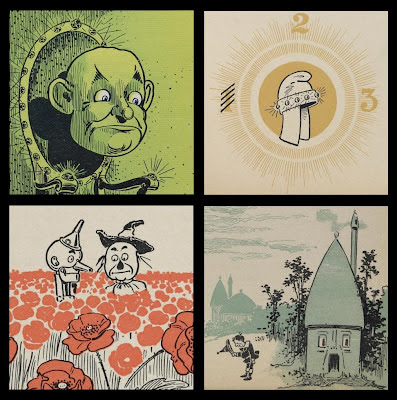 cropped vignettes from The Wonderful Wizard of Oz