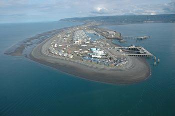 Aerial photograph. The Coast Guard base and pi...