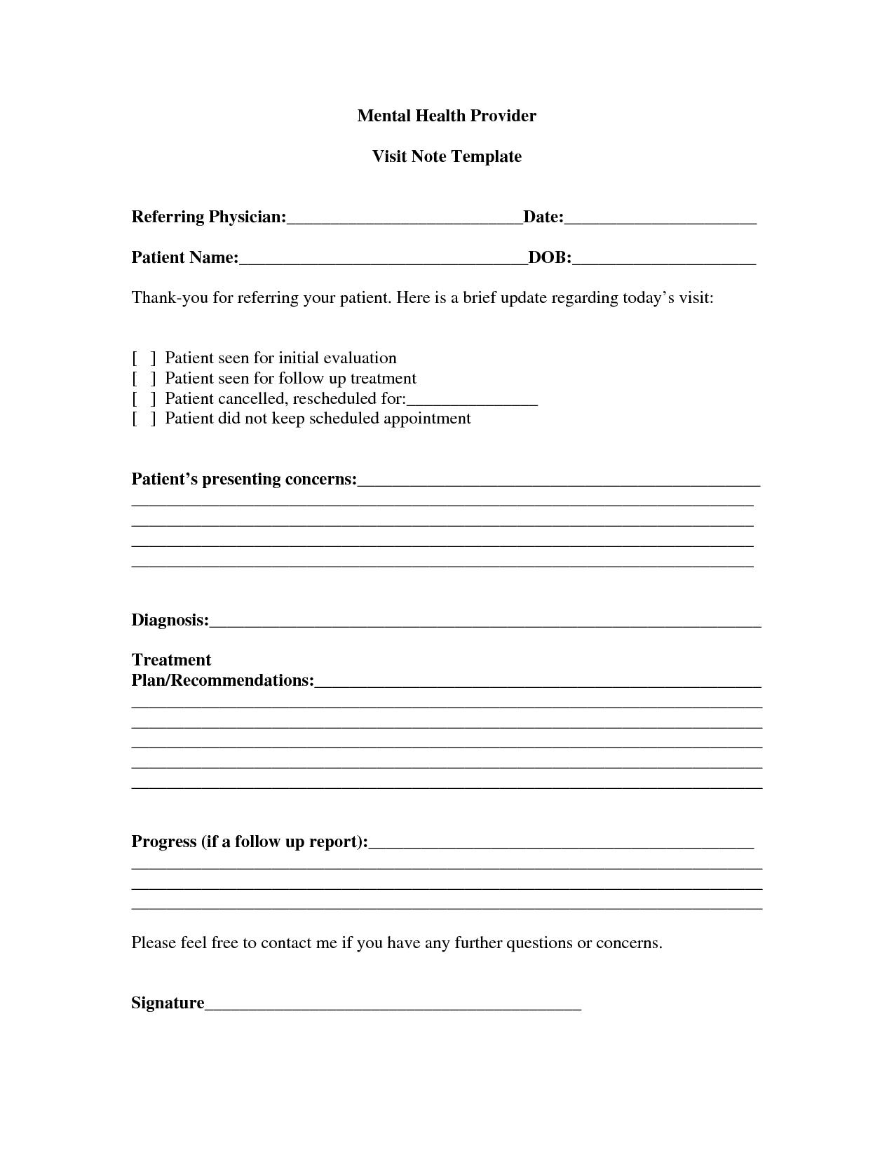 Mental health progress note sample