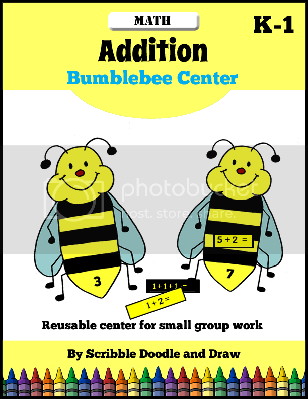 http://scribbledoodleanddraw.blogspot.ca/2016/04/addition-center-bumblebee-math.html
