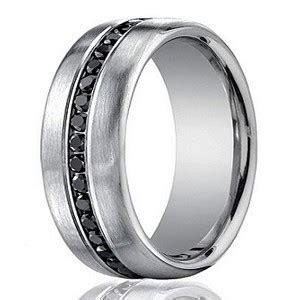 Designer 14K White Gold Men's Eternity Band, Black Diamond