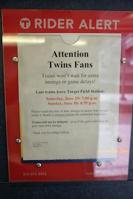The train was big to bring in Twins fans, but they'd better win in 9 innings!