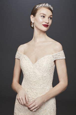 Beaded Lace Off the Shoulder Mermaid Wedding Dress   David